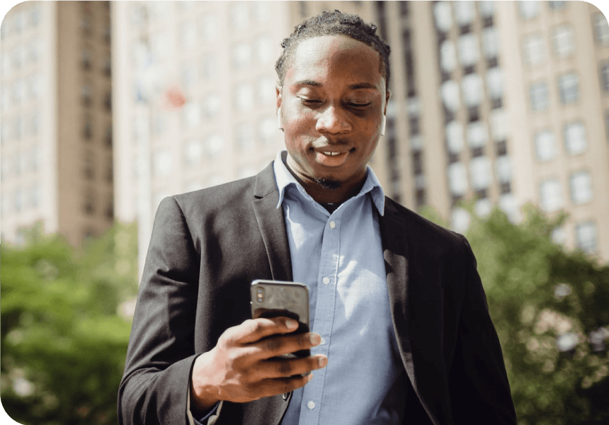 business man uses mass texting