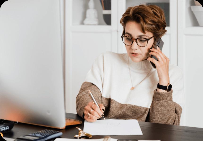 business woman receives phone alert