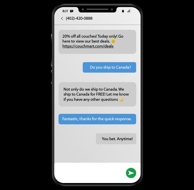 sms conversation with sales representative
