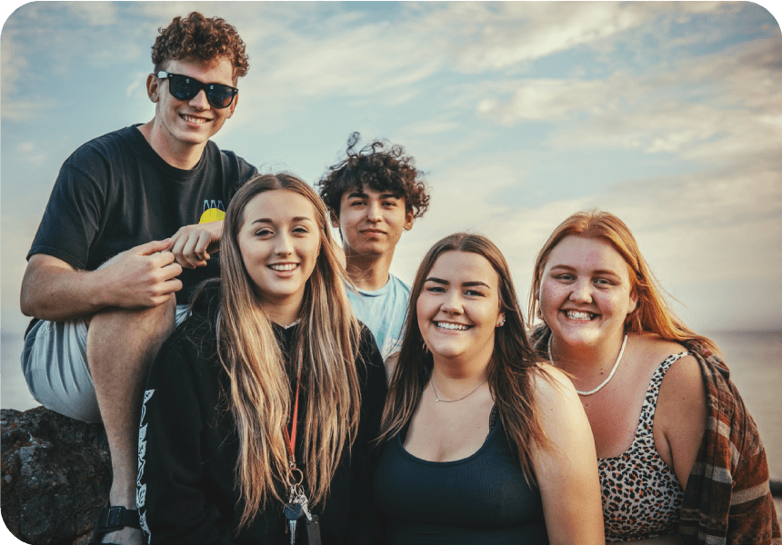 youth group smiling